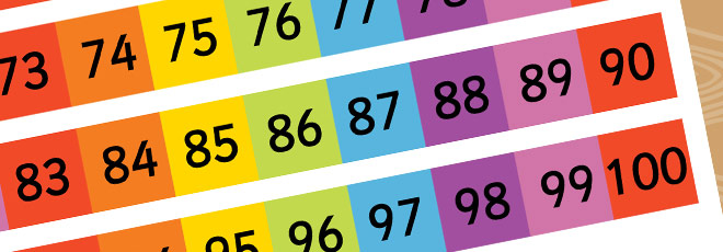 Rainbow Number Grid 1-200